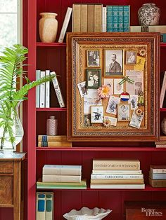 Hang small framed pictures and memorabilia bulletin-board style in a large vintage frame.