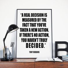 Real Decision, Tony Robbins, Instant Download, Motivational Poster, Inspirational Words, Wall Art, Tony Robbins Quote, Home Office Decor