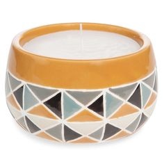 PORTOBELLO yellow ceramic candle