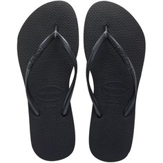 Havaianas Slim Black Flip Flop Sandal (£24) ❤ liked on Polyvore featuring shoes, sandals, havaianas, black sandals, kohl shoes, slim shoes and black shoes