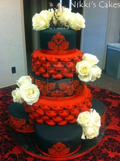 black white and red wedding cakes | Red and black Damask Wedding Cake by Corpse-Queen on deviantART