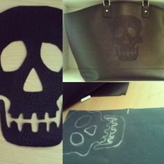 My own selfmade leather skull leather bag ♡