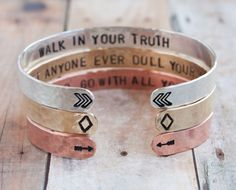 Cuff bracelet set, sterling silver, copper, brass cuff set, chevrons, diamonds, arrows, quote cuffs stacking cuffs inspirational quote, yoga by ZennedOut on Etsy https://www.etsy.com/listing/188583054/cuff-bracelet-set-sterling-silver-copper