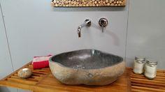 Balinese Natural River Stone Bathroom Basin Sink Round Grey Textured Bowl H25