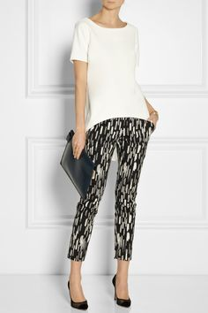 Lela Rose | Caroline cropped patterned stretch cotton-blend pants | NET-A-PORTER.COM