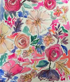 Watercolor florals for fabric www.lauradrodrsigns.com Follow on Instagram for new art! @lauradrodesigns