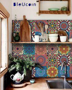 Mandala Tile / Wall / Floor Kitchen Bathroom Backsplash Decal, Removable Stair Riser Peel and Stick Vinyl Sticker: Pack of 44 - Decoration For Home Bathroom Decals, Tile Decals, Wall Tiles, Kitchen Cabinet Colors, Kitchen Colors, Kitchen Cabinets, Stain Cabinets, Kitchen Vinyl, Orange Kitchen