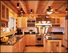 knotty pine kitchen cabinets by deirdre Western Kitchen Decor, Rustic Kitchen, Kitchen Dining, Kitchen Ideas, Knotty Pine Kitchen, Pine Kitchen Cabinets, Interior Wood Paneling, Cedar Paneling, Log Home Kitchens