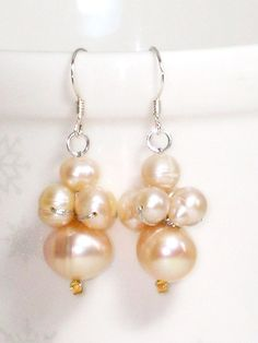 Lustrous - White Baroque Pearl Drop Earrings with Crystal on Silk Threads yzYNaLO