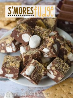 S'mores Fudge: An easy recipe for chocolate fudge filled with graham cracker chunks and marshmallow swirls.