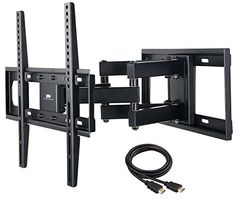 nice Mounting Dream TV Wall Mount Bracket with Full Motion Dual Articulating Arm for most of Inches LED, LCD & Plasma TVs with 6 feet HDMI Cable & Magnetic Bubble Level