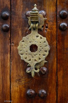 brass door knocker in Kasbah of the Udayas - Rabat, Morocco