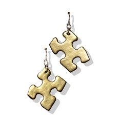 Puzzle Piece Earrings $16 Made from recycled puzzle pieces. A portion of the proceeds go to charity. Available at Design With Benefits