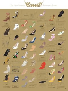 The many shoes of Carrie Bradshaw's closet #Fashion #Shoes