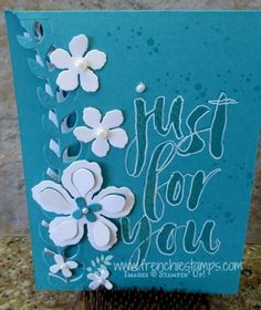 handmade card from Stamp & Scrap with Frenchie: Botanical Blooms Vines ... white and blues ... luv how she colored in the letters in the large sentiment ... Stampin' Up!