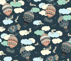Dreamers__Balloon-Prussian_blue fabric by studiohesed on Spoonflower - custom fabric
