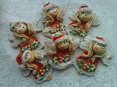 Christmas Clay, Christmas Crafts, Christmas Decorations, Christmas Ornaments, Holiday Decor, Clay Angel, Salt Dough Ornaments, Clay Dolls, Cold Porcelain