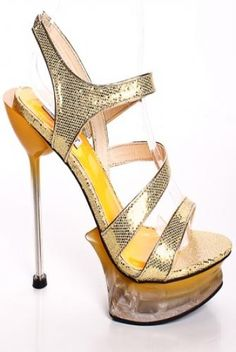 GOLD GLITTER FAUX LEATHER STRAPPY PLATFORM HEELS