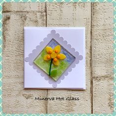 Fused Glass Greeting Card, Handmade, Yellow Flower, Floral Gifts, Hand crafted by Minerva Hot Glass Glass Wall Art, Fused Glass Art, Tea Light Holder, Greeting Cards Handmade, Glass Ornaments, Yellow Flowers, Tea Lights, Handmade Gifts, Hot