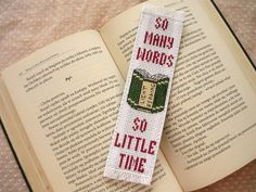 Cross stitch bookmark - So many words, embroidered bookmark, gift for readers…