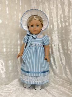 Regency blue stripped dress bonnet and headband by DollSizeDesigns, $139.00