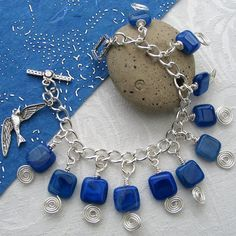 Wire Wrapped Bracelet in Bright Blue Agate with by adiencrafts, $20.00