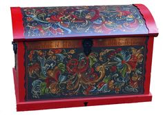 Rosemaled Trunk by Marjory Johnson Wood http://www.mnartists.org   Rosemåling, or decorative painting, is a Norwegian folk art form that a...