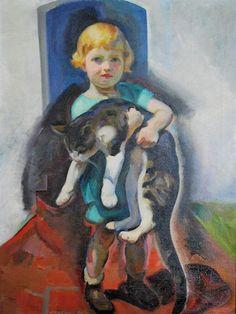 Edouard Antonin Vysekal (Czechoslovakia, 1890 – 1939) - Girl with a cat, 1929