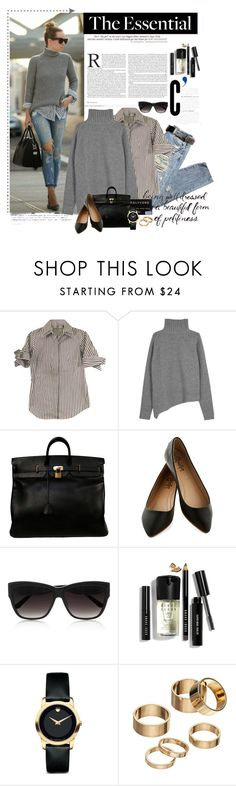"""The Essential Gray Wool Sweater"" by beautyscoop ❤ liked on Polyvore featuring Anne Fontaine, Joseph, Hermès, Linda Farrow Luxe, Bobbi Brown Cosmetics, Movado, Apt. 9, gray, casualstyle and fallfashion"
