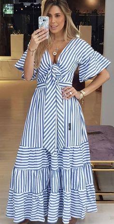 Casual Dresses, Fashion Dresses, Summer Dresses, Look Fashion, Womens Fashion, Fashion Design, African Dress, Striped Dress, African Fashion