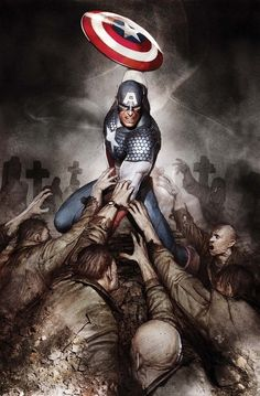 Captain America fighting zombies