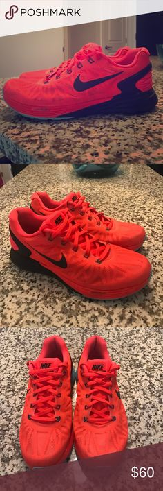 Nike Lunarglide 6 Excellent used condition! Only worn a couple of times, no discoloration, rips or damage. Bottom shows minor dirt but no reduction to the tread, color is bright crimson (neon orange/red), with light blue and black detailing, price firm! Nike Shoes Sneakers
