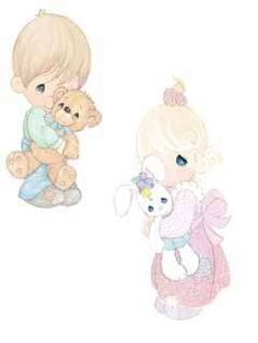 precious moments images clipart | Precious Moments Wallies Mural Borders Boy Girl Castle