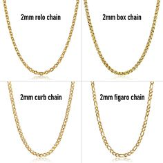 2 mm 18 inch Stainless Steel Chain Gold Plated Curb Figaro Box Link Men Women - Yellow Gold Plated Chain - Ideas of Yellow Gold Plated Chain #YellowGoldPlatedChain