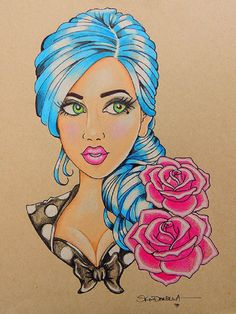 Blue by Skinderella Rockabilly Pin-Up Girl Canvas Giclee Art Print