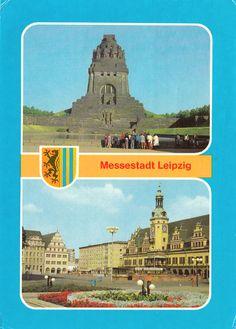 Leipzig, Völkerschlachtdenkmal + Markt mit Altem Rathaus, 1981