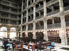 Peabody Library - Remarkable research library housed in a remarkable building designed by noted architect Edmund Lind. The brainchild of the philanthropist George Peabody, the goal of the library was to create a publicly-accessible collection that contained the best and latest literature in all branches of knowledge except law and medicine.