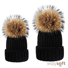 0f147abf737dd WaySoft Mother-Child Matching Genuine Fur Pom Pom Hats Knit Beanie Hat Ski  Cap