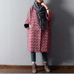 Women winter warm woolen coat loose -  Buykud
