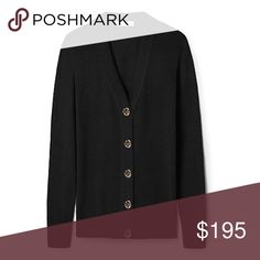 ✨NEW LISTING✨ 🆕 Tory Burch Simone Cardigan NWT black Tory Burch Simone cardigan with black buttons and gold logos. 100% wool. Size XL. Tory Burch Sweaters Cardigans