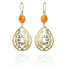 Gold bezel filigree design earrings with semi precious stones