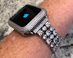 Rose Gold Apple Watch Band and or Lab Diamond Bezel. Apple Watch Bands Fashion, Rose Gold Apple Watch, Silver Apples, Apple Watch Accessories, Custom Jewelry Design, Lab Diamonds, Quartz Watch, Fashion Watches, Bling
