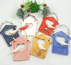 Birdhouse ornament ceramic house ornament ceramic birdhouse image 3 What should remain in the budgerigar Clay Christmas Decorations, Christmas Crafts, Christmas Ornaments, Crochet Christmas, White Christmas, Christmas Tree, Clay Birds, Ceramic Birds, Ceramic Art