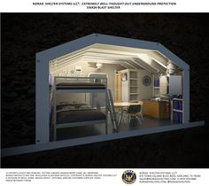 S16x24-MIL Blast Shelter: The Military Bomb Shelter Includes a 6.5kw Diesel Generator, 800 gallons diesel fuel, 2 NBC air filtration systems, lighting, furniture, kitchen, shower and bathroom