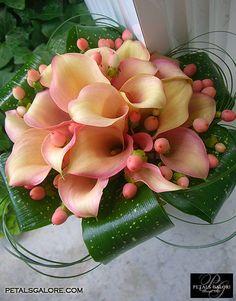 BeautIful modern Orange/ Pink Calla Lilly Bouquet!