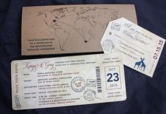 Navy, Burgundy & Kraft Brown World Map, Giraffes & South Africa Passport Stamps Antique Airline Ticket Wedding Invitations
