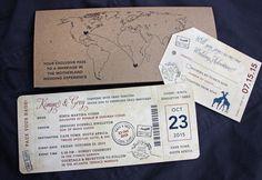 Navy, Burgundy & Kraft Brown World Map, Giraffes & South Africa Passport Stamps Antique Airline Ticket Wedding Invitations