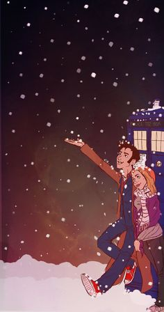 """""""Tenth Doctor & Rose Tyler at Christmas"""" (5x7Greeting Card - $5.00, via Etsy)"""