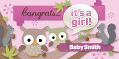 Becca would adore this! Baby Girl Shower Themes, Baby Shower Games, Baby Shower Parties, Baby Boy Shower, Baby Showers, Baby Shower Centerpieces, Baby Shower Decorations, Owl Banner, Baby Girl Owl