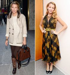 Blake Lively in New York City on February 4, 2013 and on March 6, 2013.